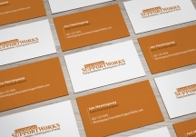 Foundation support works business cards mockup